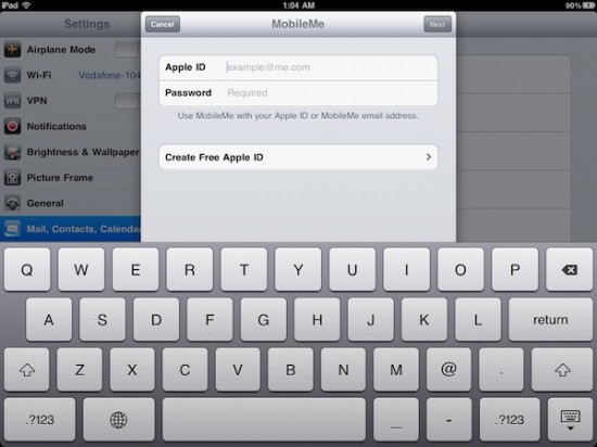 MobileMe no iOS 4.2 GM