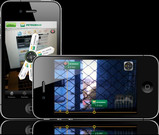 Realidade aumentada Localizador de Postos Petrobras no iPhone