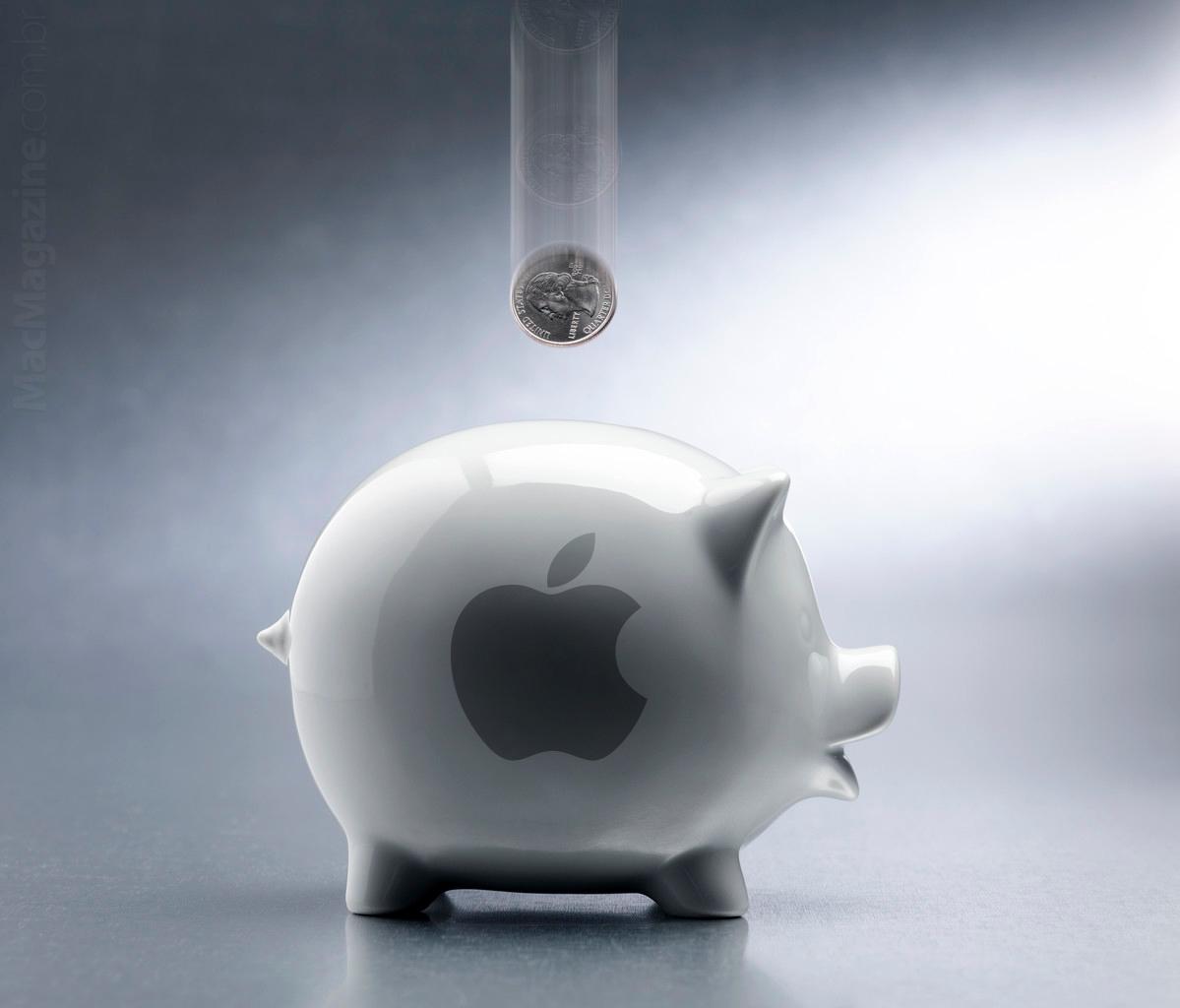Porquinho com a marca da Apple