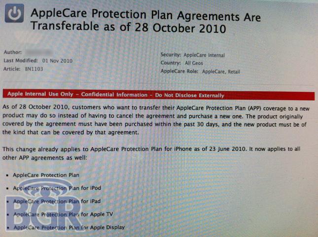 Plano AppleCare transferível