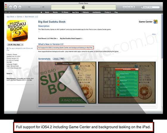 Jogo com Game Center para iPad no iOS 4.2