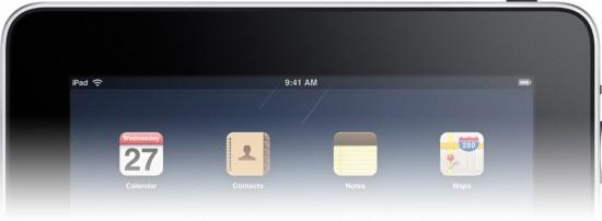 Barra de menus preta no iPad