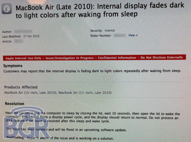 Bugs em MacBooks Air