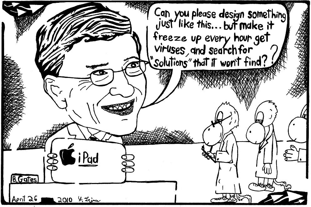 Tirinha de Bill Gates sobre iPad