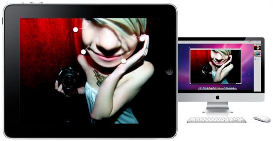 iPad, iMac e app companheiro do Photoshop