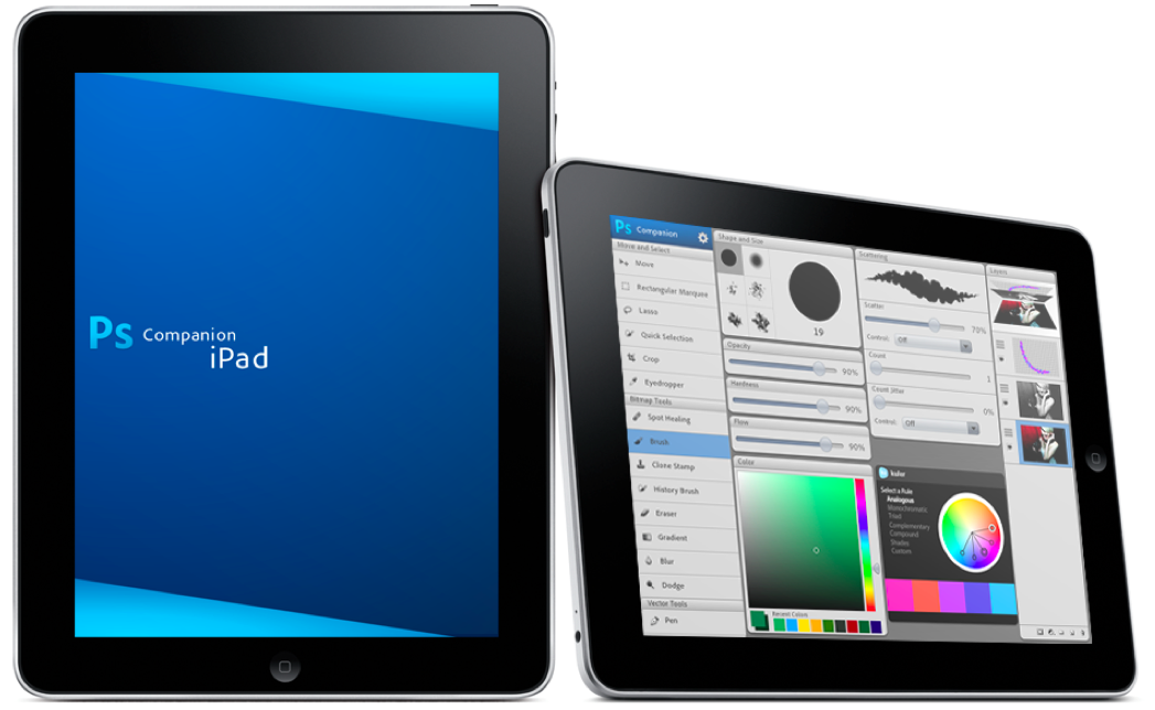 iPad e app companheiro do Photoshop
