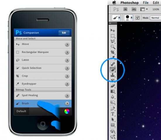 iPhone e app companheiro do Photoshop