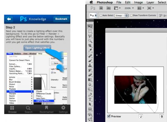 iPhone e app de tutorial do Photoshop