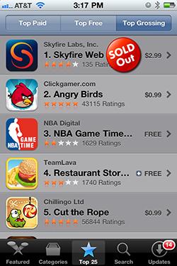 Skyfire esgotado na App Store