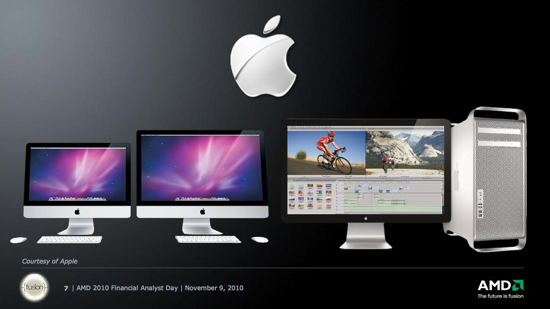 Slide demonstrando parceria entre Apple e AMD