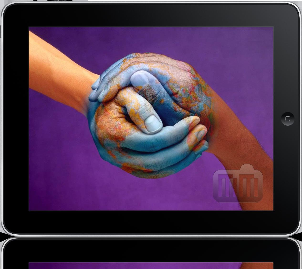 iPad com imagem da paz mundial