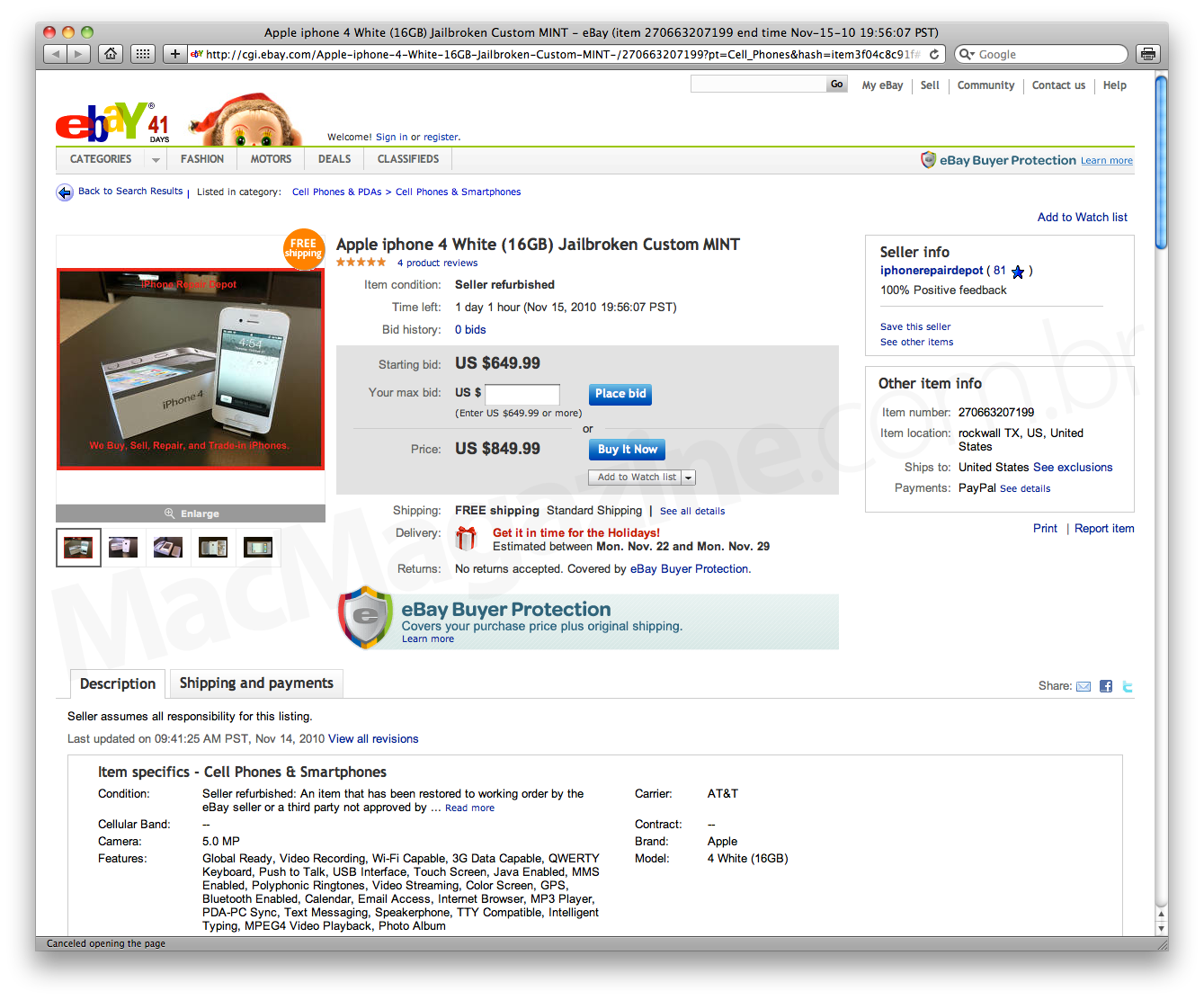 iPhone 4 branco no eBay