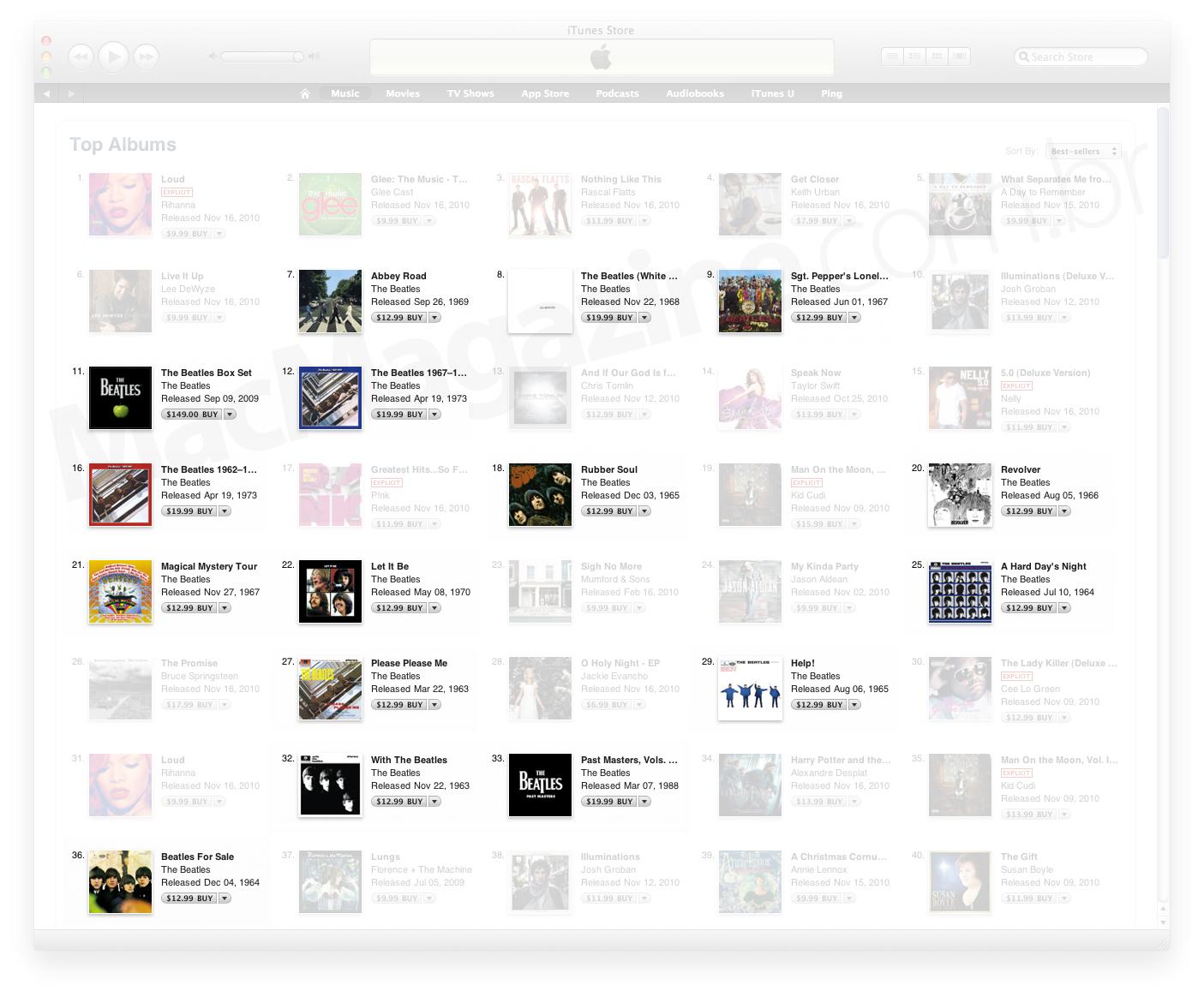 Beatles entre os mais populares da iTunes Store