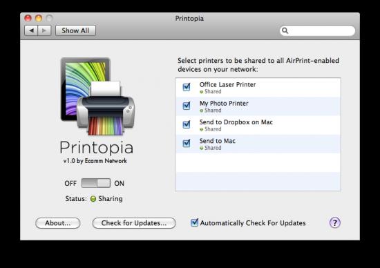 Printopia no Mac OS X