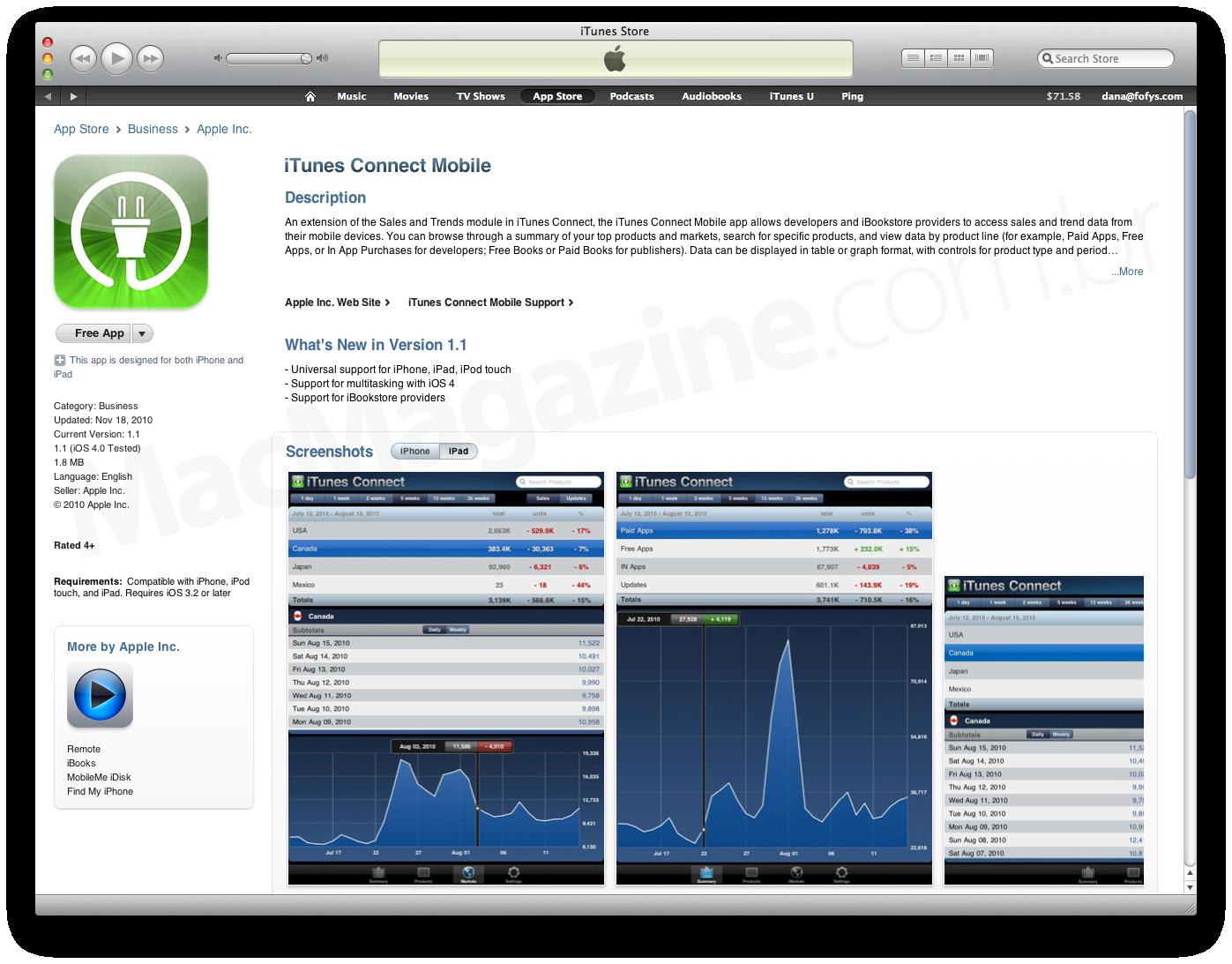 iTunes Connect Mobile atualizado