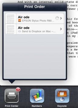 AirPrint no iWork 1.3 para iPad