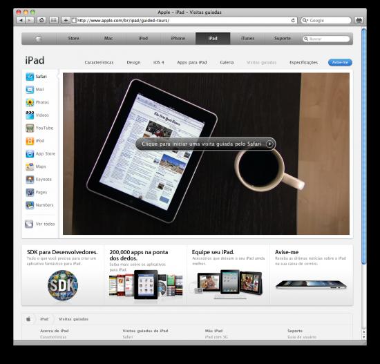 Visitas guiadas do iPad na Apple Brasil
