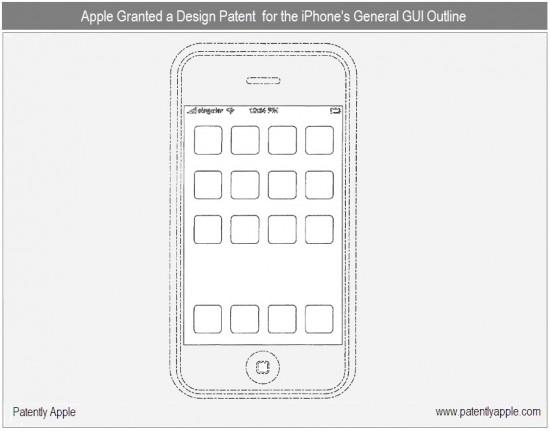 Patente do desenho geral da Home Screen do iOS