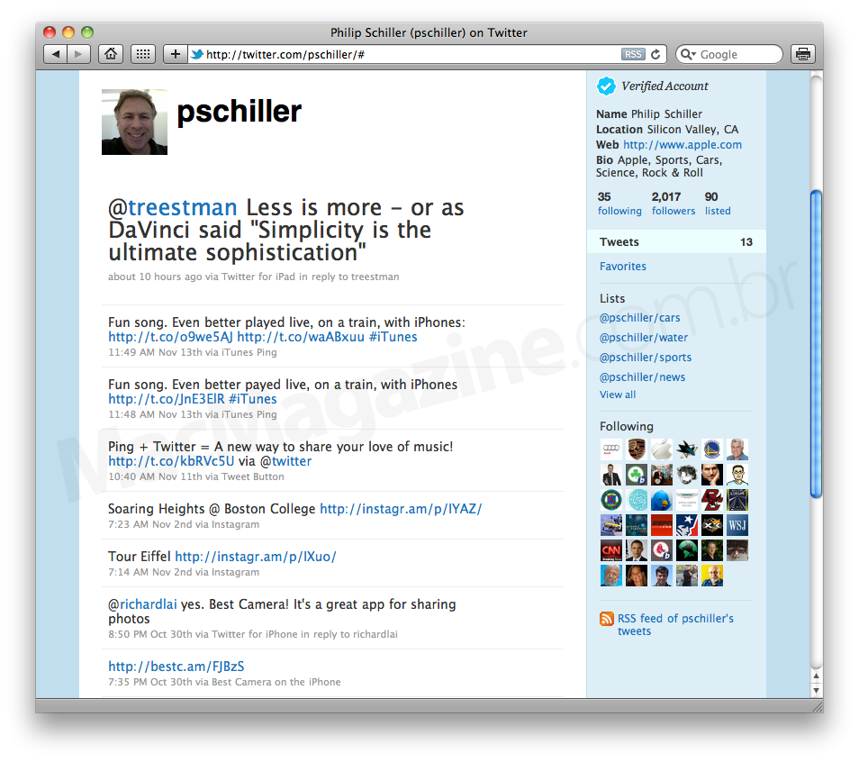 Phil Schiller no Twitter
