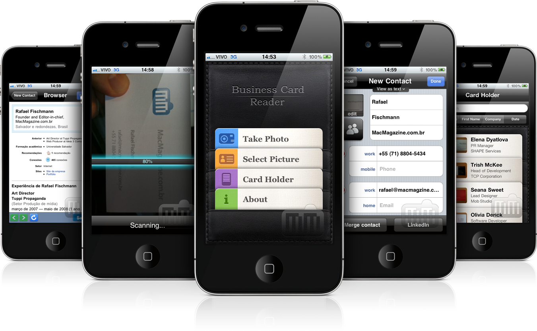 Business card reader escaneia cartes de visita e automaticamente os business card reader iphone reheart Image collections