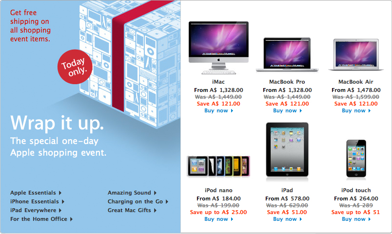 Black Friday na Apple Online Store australiana
