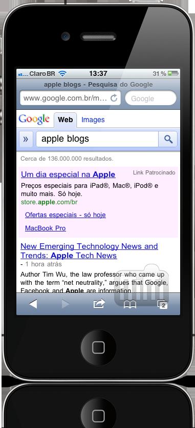 Anúncio de desconto em iPad da Apple Brasil