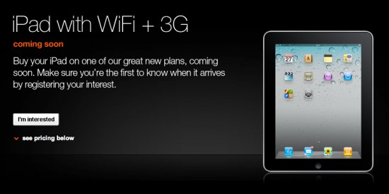 iPad com Wi-Fi+3G na Orange