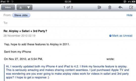 Email de Jobs sobre AirPlay