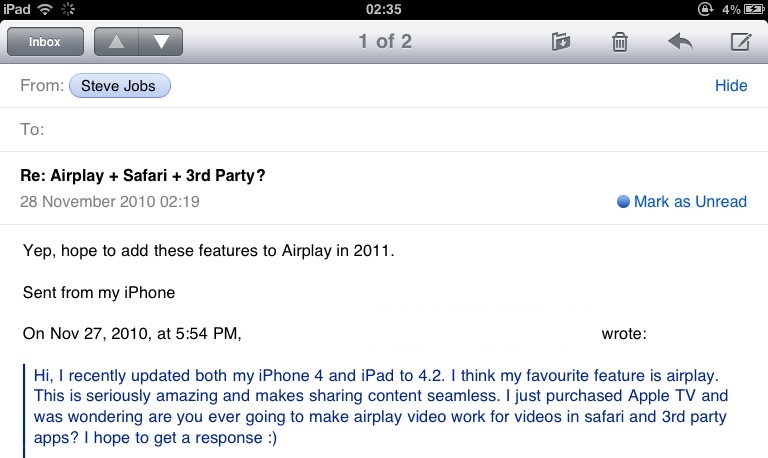 Email de Jobs sobre AirPlay