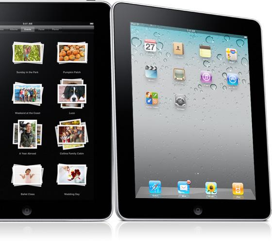 iPad de lado com interface do iOS 4
