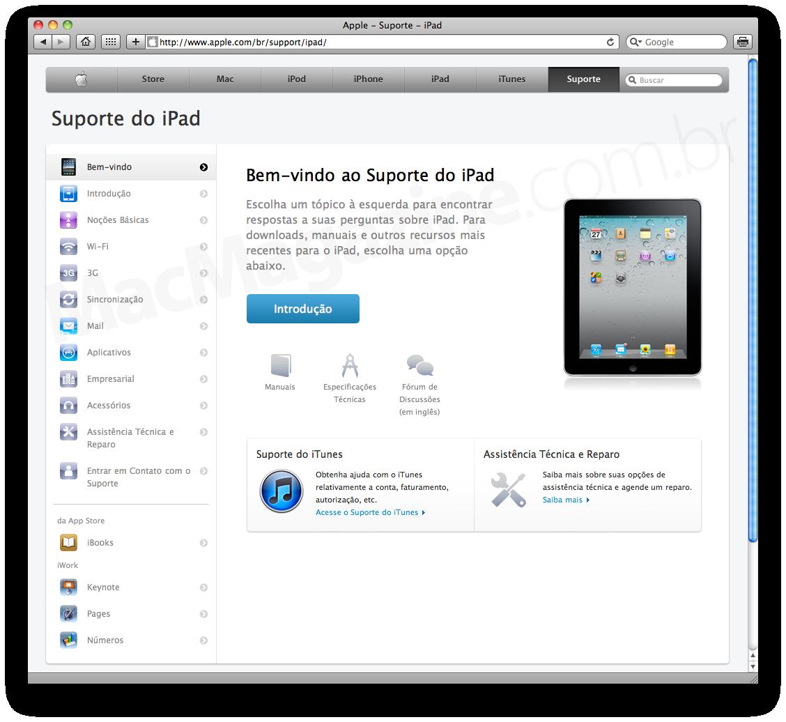 Suporte técnico do iPad na Apple Brasil