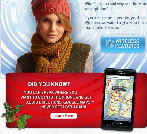 Propaganda da Verizon com imagem do iOS em DROID X