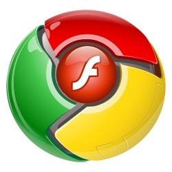 Ícone do Google Chrome misturado com o Adobe Flash Player