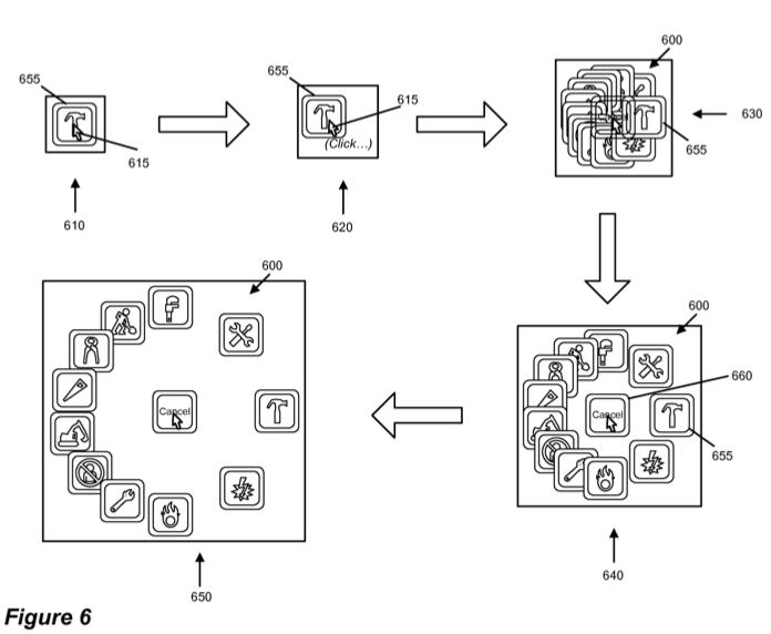 Patente de funcionamento de menus circulares