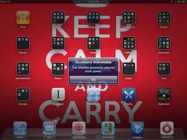 Energia insuficiente no adaptador USB do iPad com iOS 4.2