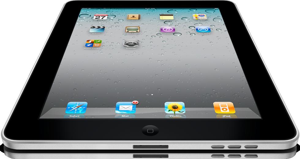 iPad grande, visto de frente e de baixo, com iOS 4.2
