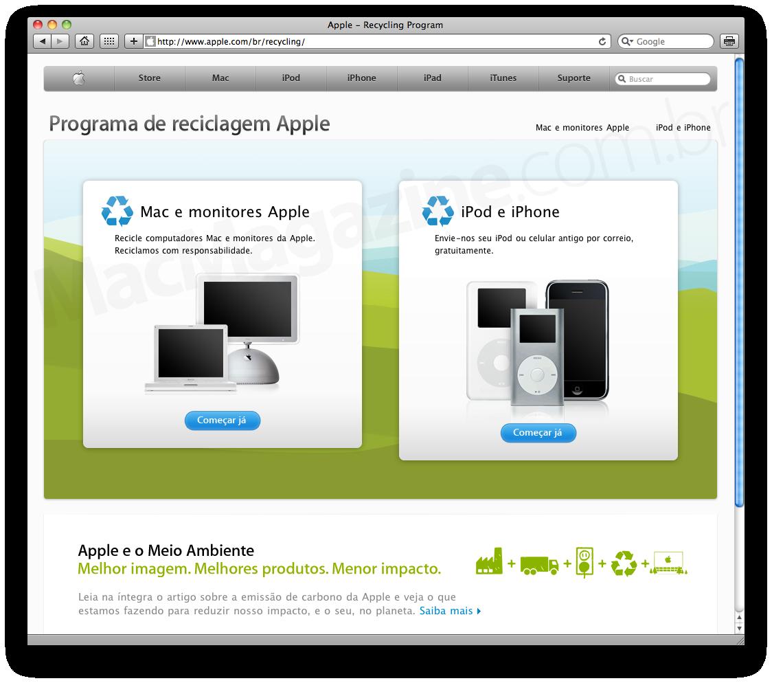 Programa de reciclagem - Apple Brasil