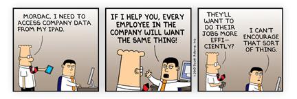 Dilbert na campanha iPads At Work