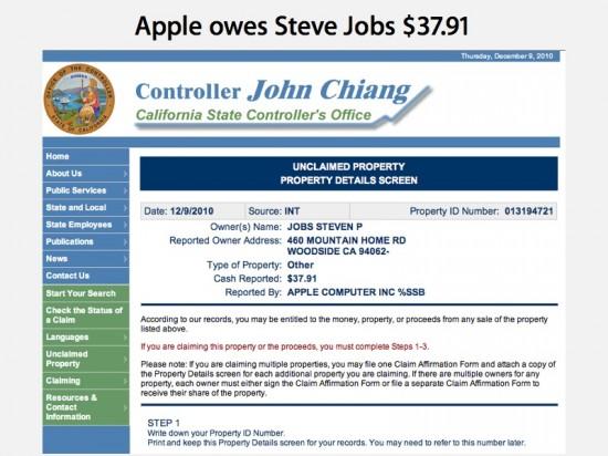 Propriedade não-reclamada por Steve Jobs