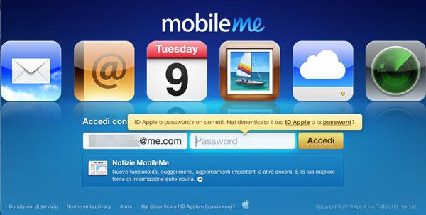 Tela de login do MobileMe com problemas