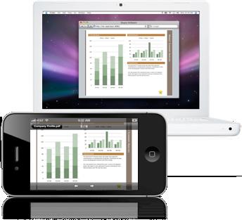 Air Projector no iPhone e num MacBook