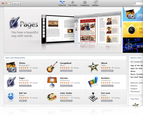 Pages/iWork na Mac App Store