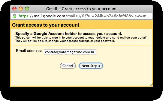 Delegação de contas no Gmail