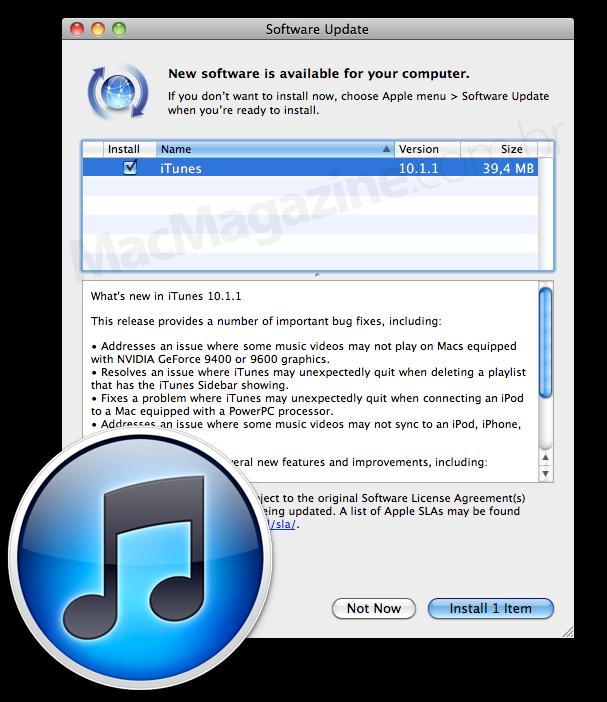 iTunes 10.1.1 no SU