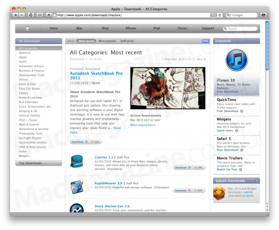 Downloads para Mac OS X no Apple.com
