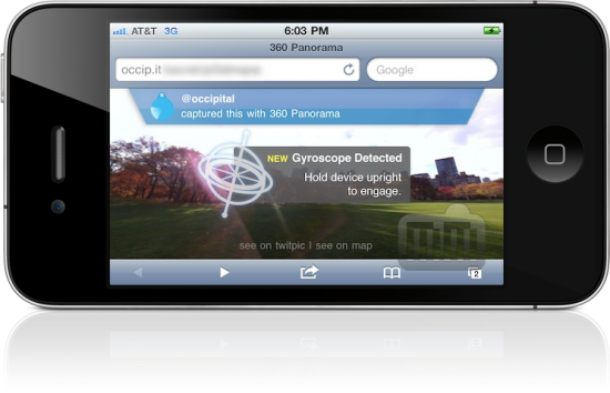 Panorama de realidade aumentada com gyro no iPhone