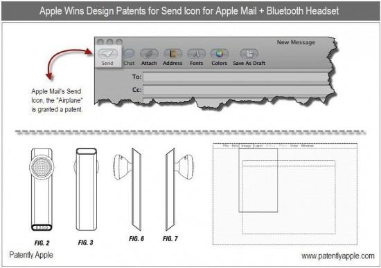 Patentes de designs diversos - Mail, headset, menus