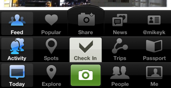 Interface incomum de Instagram, Path e Gowalla
