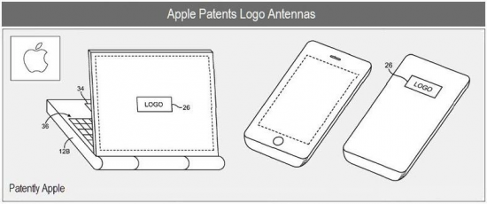Patente de antenas atrás de logos