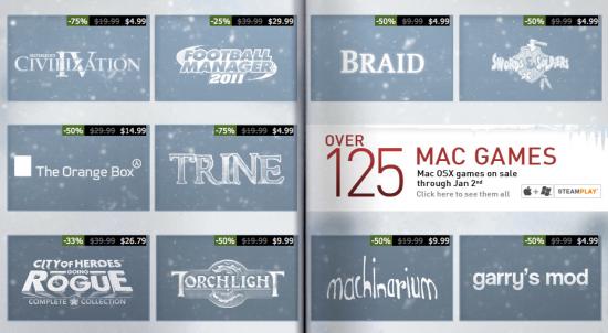 Promoção da Steam de títulos para Mac